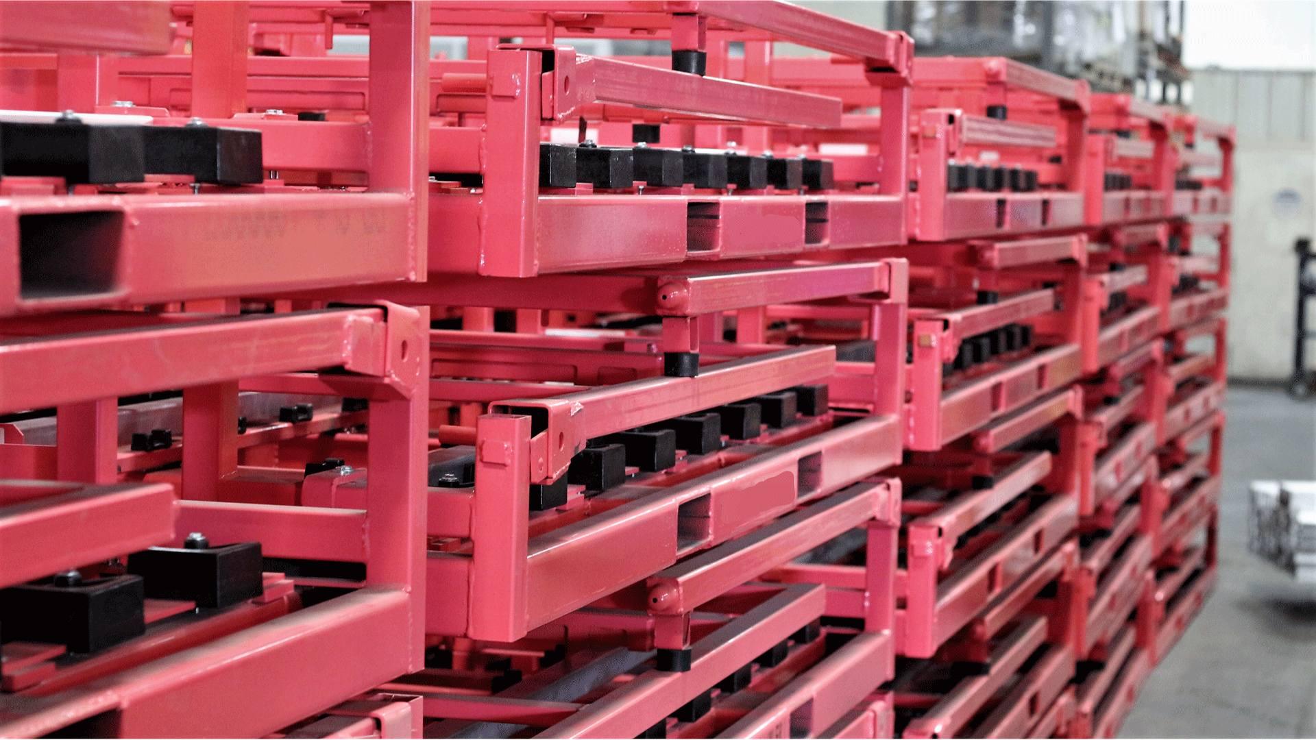 collapsible pink steel racks